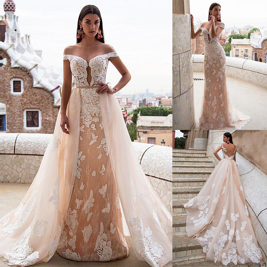 Chic Bateau Neckline Sheath Wedding Dresses With Lace Appliques Off The Shoulder Champagne Bridal Dress With Detachable Skirt