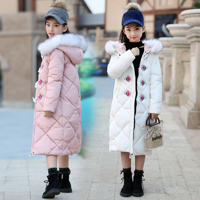 Best Price 5 6 7 8 9 10 11 12 13 14 15 16 Years Winter Jackets For Kids Girls Cotton Padded Down Coat Hooded Long Thick Baby Snow Suit Tops