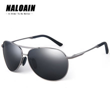 NALOAIN Men Sunglasses Polarized Lens UV400 Metal Frame Vintage Sun Glasses Driving Goggles For Fishing