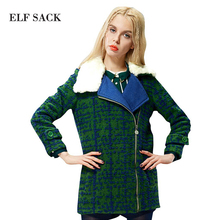 ELF SACK fashion brand new arrival 2015 winter women slim berber fleece turn-down collar long wool coat zipper free shipping