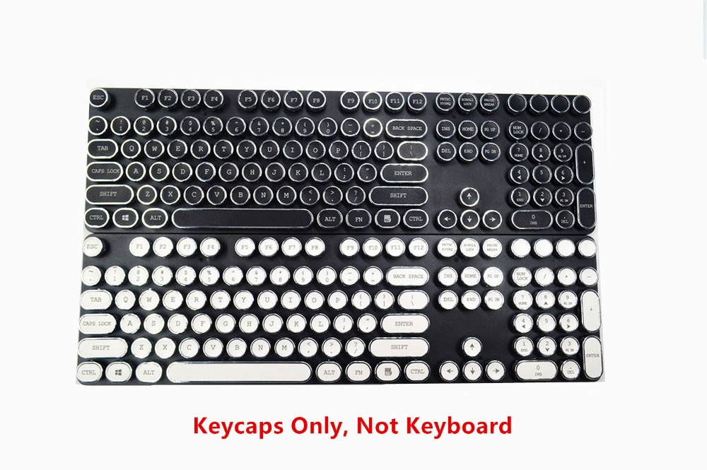 100% True 104 Keys Steampunk Round Golden Silver Black White Keycap Key Cap Keycaps Ansi Layout For Cherry Mx Gaming Mechanical Keyboard Keyboards