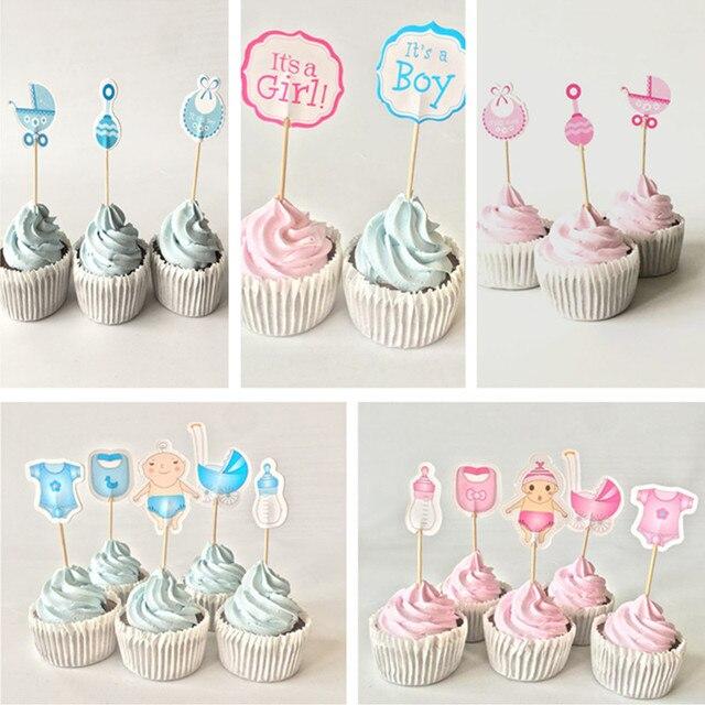 Aliexpress Com Buy 12 18 20pcs Baby Shower Cupcake Toppers Boy