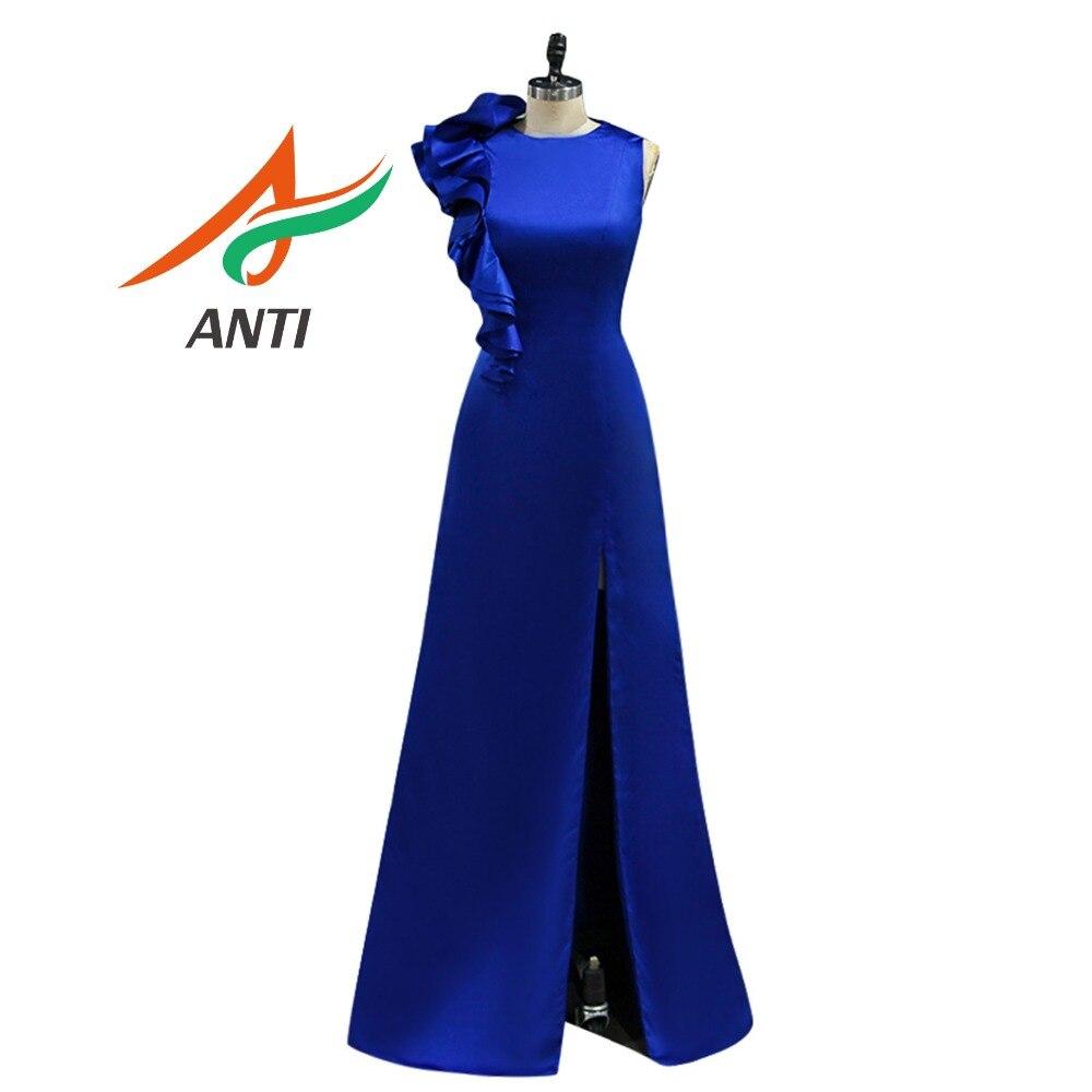ANTI Cheap Blue And White   Bridesmaid     Dresses   2019 A-Line Sleeveless Ruffles Vestido De Madrinha De Casamento Longo Fast Shipping