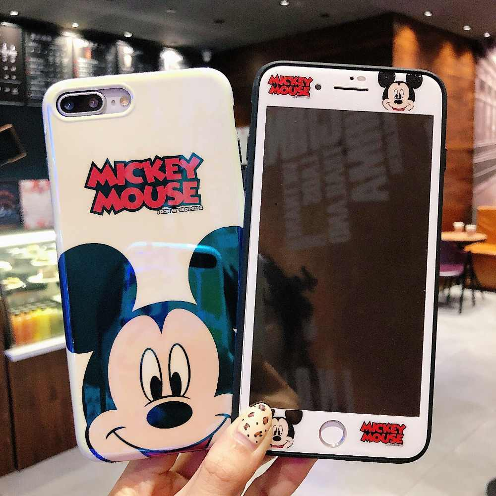 info for defab 85e6f Mickey Mous Women Luxury Phone case + Glass Screen Protector for iPhone X  XR XS Max Soft Cover for iPhone 6 6s 7 8 Plus Coque