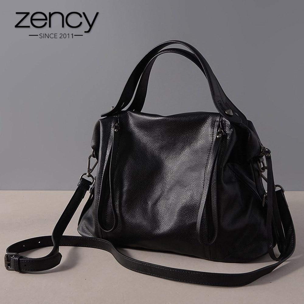 Zency خمر النساء حقيبة يد 100% جلد طبيعي الكلاسيكية الأسود عارضة حمل جودة عالية مكتب سيدة الكتف حقيبة ساعي سعة كبيرة-في حقائب قصيرة من حقائب وأمتعة على  مجموعة 1