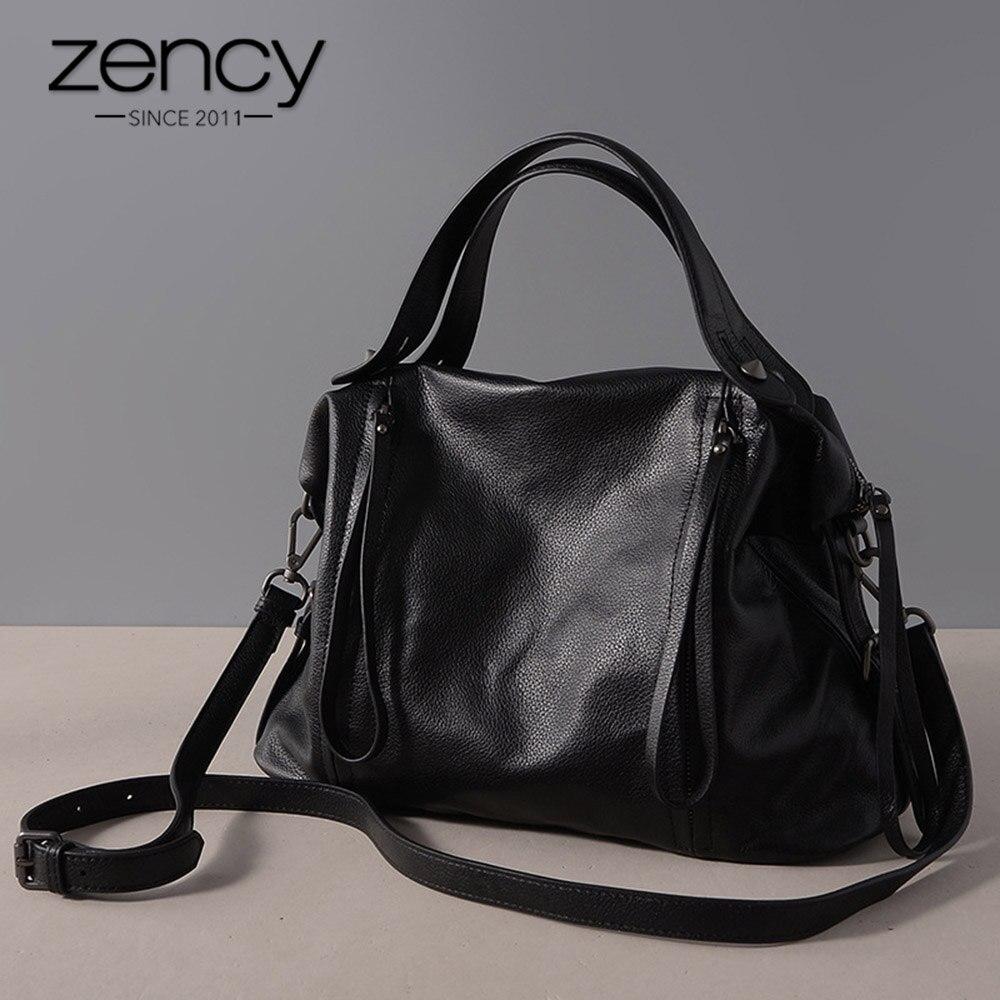 Zency w stylu Vintage kobiety torebka 100% prawdziwej skóry klasyczny czarny na co dzień torebka wysokiej jakości urząd Lady torba na ramię duża pojemność w Torby z uchwytem od Bagaże i torby na  Grupa 1