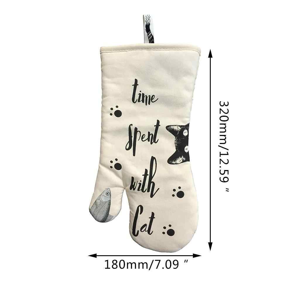 Lindo Gato Cozimento Da Cozinha Não-slip 100% Algodão Grossas Luvas de Forno de Microondas de Alta Temperatura Anti-escaldante Anti- alta Temperatura