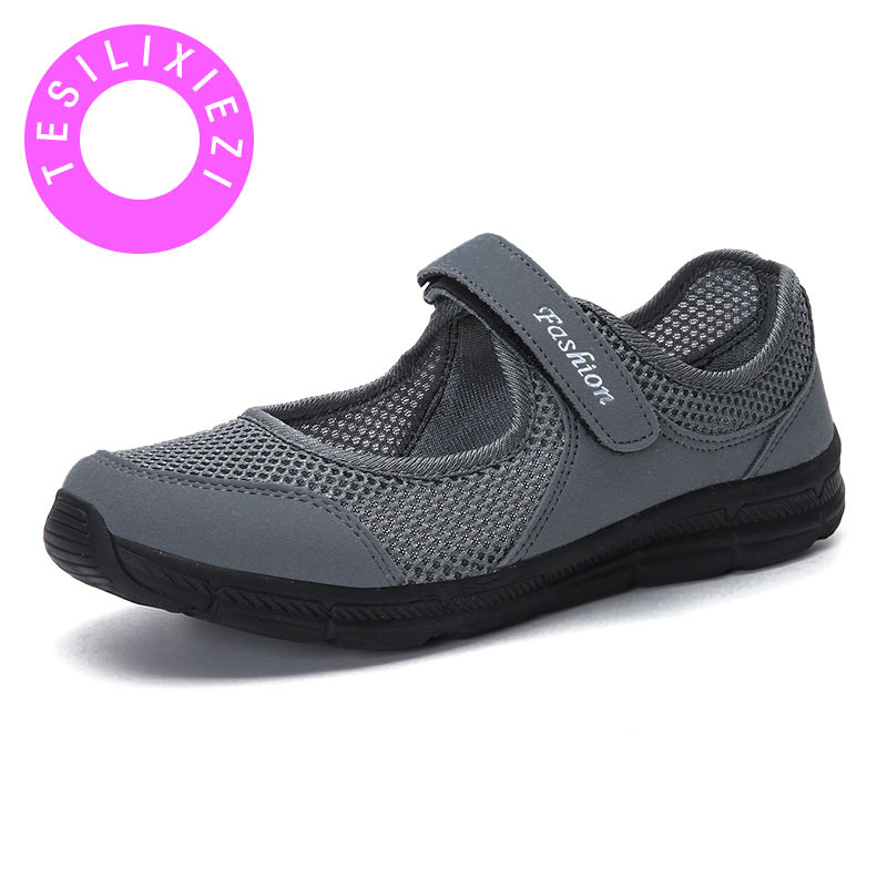 Women Sneakers for Walking Summer Casual Fashion Breathable Mesh MD Shock absorbing Anti slip Elderly Mom Ladies Flat Shoes Spor in Women 39 s Flats from Shoes