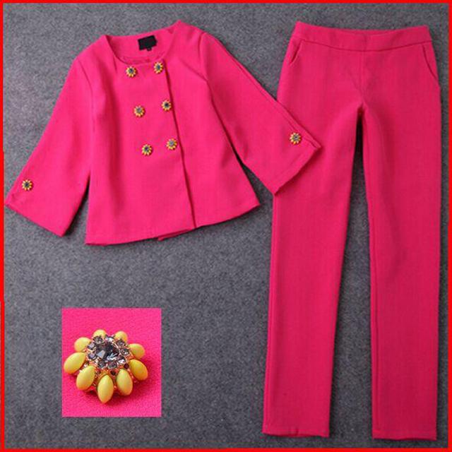 2017 Double-Breasted de Las Señoras Blazer Pant Mujeres Trajes de Negocios Oficina Formal Trajes de Trabajo de Las Mujeres Elegantes Trajes Con Pantalones Lápiz