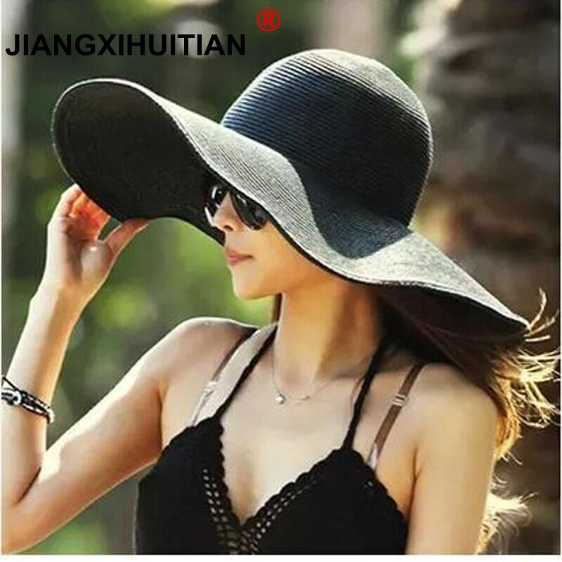 2017 Summer Fashion Floppy Straw Hats Casual Vacation Travel Wide Brimmed  Sun Hats Foldable Beach Hats For Women With Big Heads d6d95928b2e5