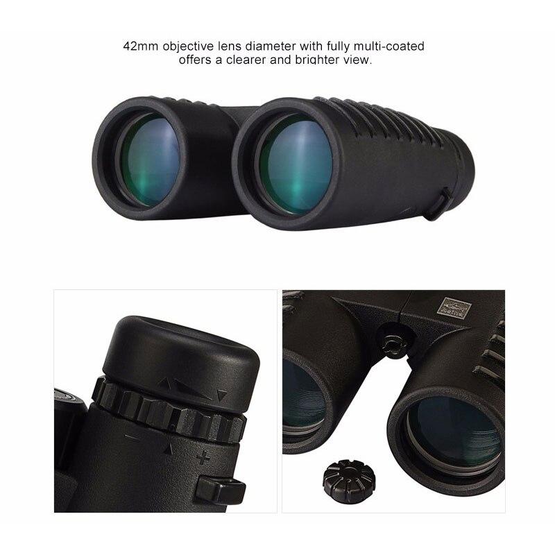 10x42 Camping caza ámbitos Asika binoculares con correa para el cuello bolsa de visión nocturna telescopio Bak4 prisma óptica Binocular - 5