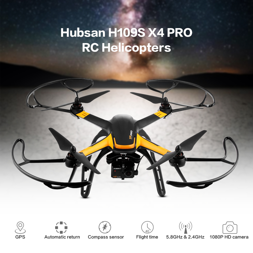 Hubsan H109S X4 PRO RC Helicopters Standard Edition 5.8G FPV 1080P HD Camera GPS 7CH RC Quadcopter With 1-Axis Brushless Gimbal 7 4v 2700mah 10c battery 1 in 3 cable usb charger set for hubsan h501s h501c x4 rc quadcopter