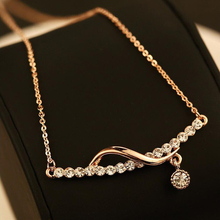 2017 Brand Classic Necklace for Women Pendant Simple Style Crystal Necklace Rose Gold Color Chain  Fashion Jewellery Crystal dvacaman brand 2017 luxury crystal necklace