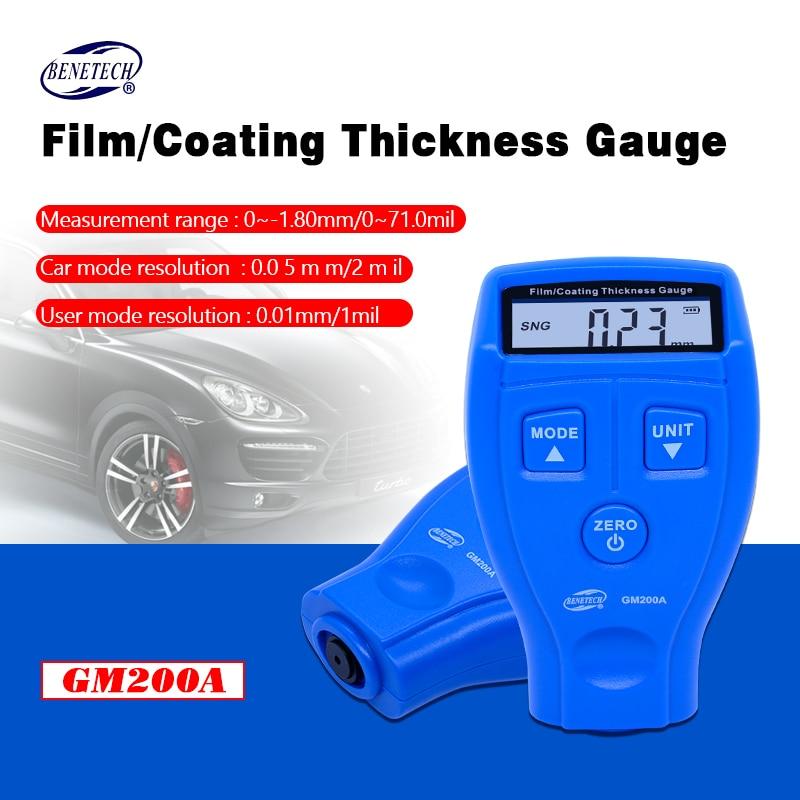 Benetech GM200 0 - 1.8 мм / 0-71.0mil цифровой автомобильный покрытие ультразвуковой краска железа толщиномером метр инструмент