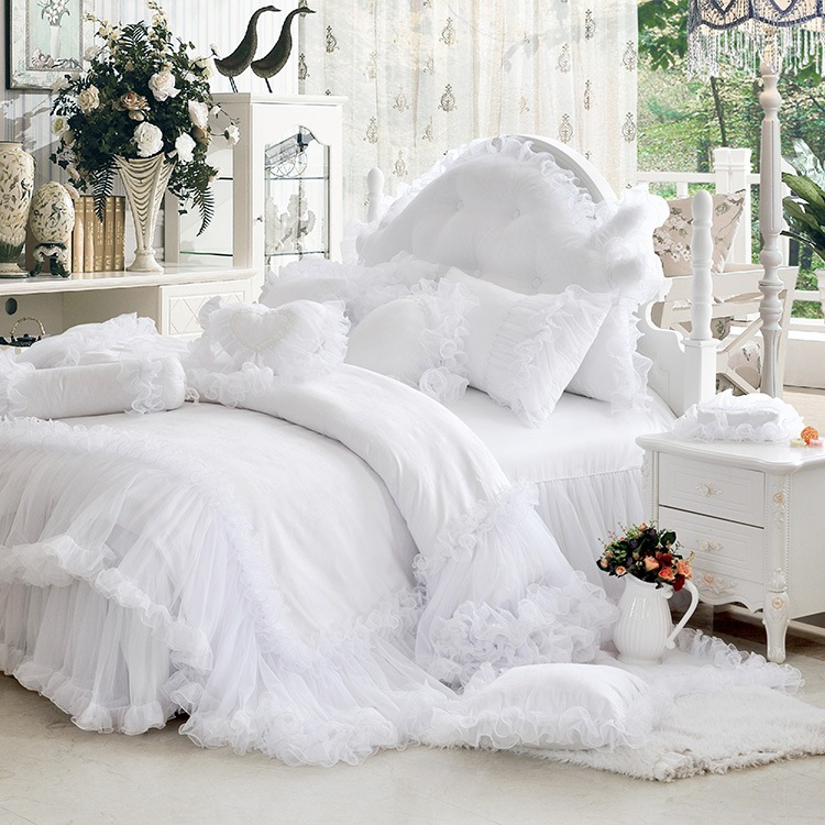 Luxury White Falbala Ruffle Lace Bedding Set Twin Queen King Size