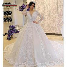 Robe de soiree piena del merletto maniche lunghe abito da sposa con una bella posteriore amanda novias