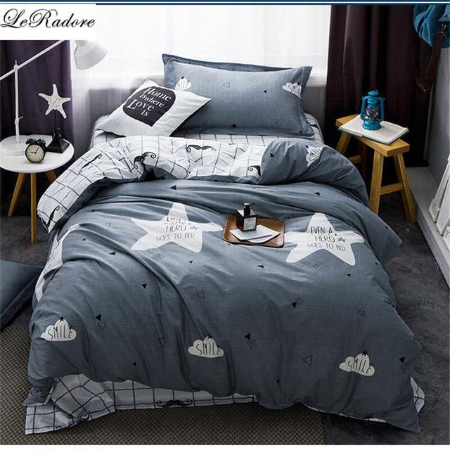 Leradore Bedding Sets For Kids Cartoon Pattern Bedspread Duvet Cover Bed Set With Flat Sheet