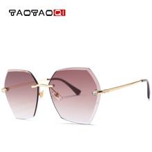 TAOTAOQI Luxury Sunglasses Women Designer Brand Fashion Rimless Rhinestone Sun Glasses Female UV400 Vintage Eyewear Oculos