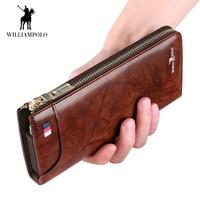 WilliamPOLO New Men Wallet Long Clutch Accordion Credit Card Holder Genuine Leather Phone Purse Multi Card Case Zipper Organizer