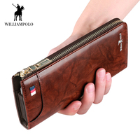 WilliamPOLO New Men Wallet Long Clutch Accordion Credit Card Holder Genuine Leather Phone Purse Multi Card Case Zipper Organizer