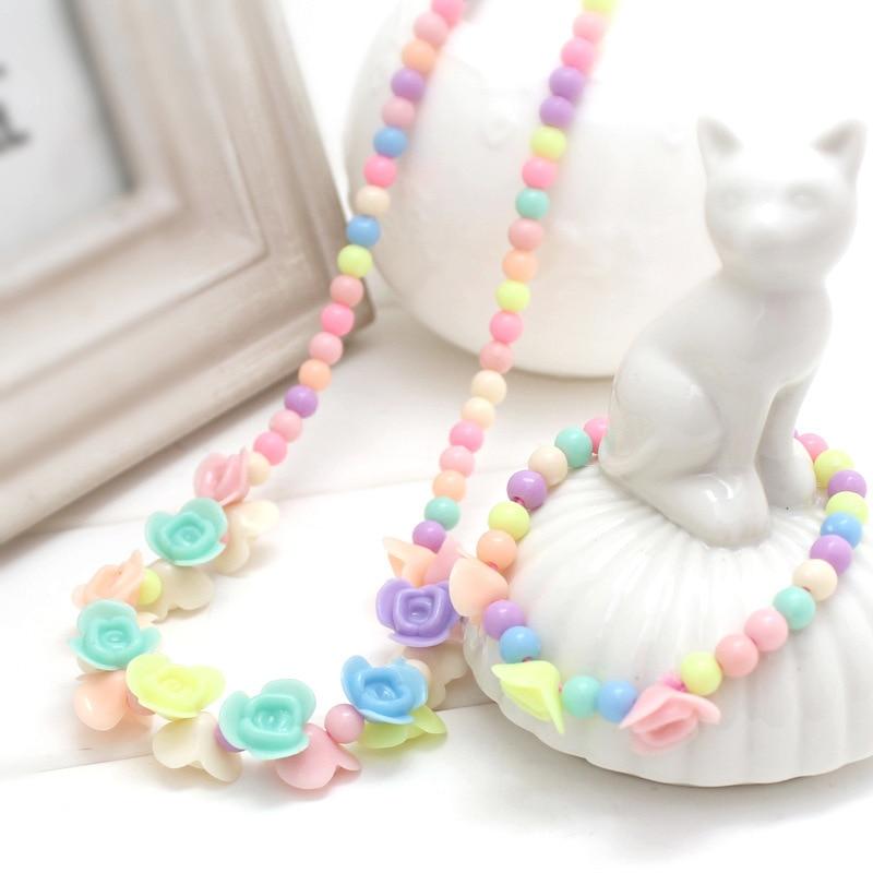 1 комплект, милые подарки для девочек, детские аксессуары для принцесс, наборы, разноцветные акриловые бусины, цветок, ожерелье и браслет - Цвет: 1