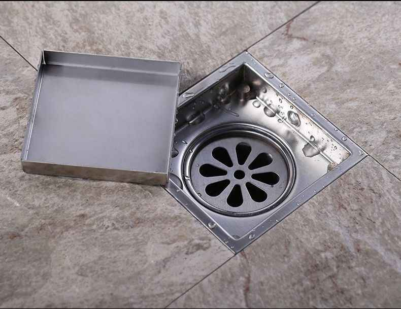بلاط إدراج مربع الطابق استنزاف النفايات قضبان حمام دش استنزاف الخفية 150x150 ملليمتر ، 304 المقاوم للصدأ -- MD-M03