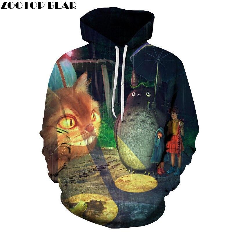 3D Cat Print Hoodies Men Sweatshirts Tracksuits Casual Male Fashion Tops Drop Ship  Cartoon  ZOOTOP BEAR Brand  Pullover