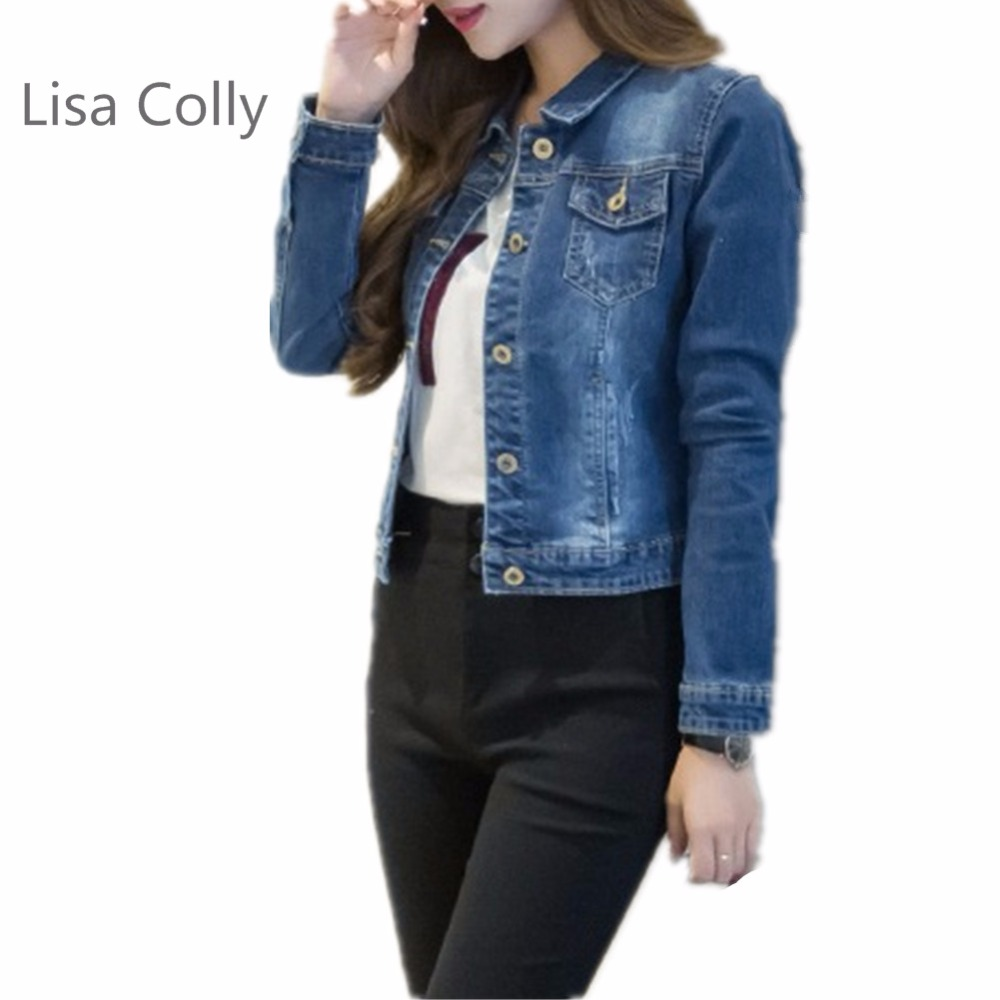 Lisa Colly 2018 Spring Blue Denim   Jacket   Women   Basic     Jacket   Fashion Long Sleeve Jeans Coat S-2XL Size