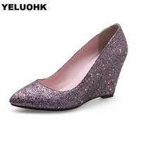 Large Size 43 Glitter Pointed Toe Wedge Shoes Women Pumps Fashion Party Shoes For Women High