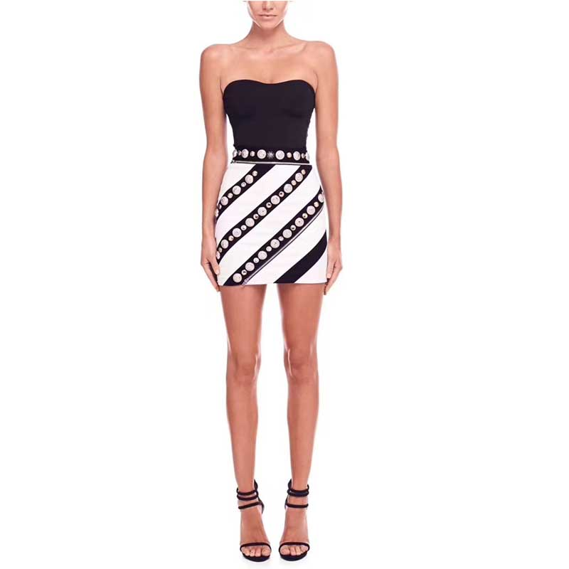 Wholesale 2019 new style dress Black and white color matching Strapless Sweet and sexy Mini Celebrity