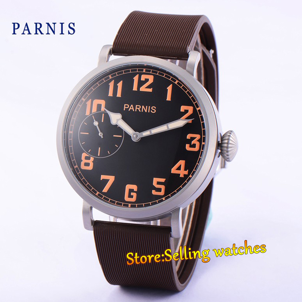 где купить Parnis 46mm Stainless steel Hand Winding 6497 Mens Watch дешево