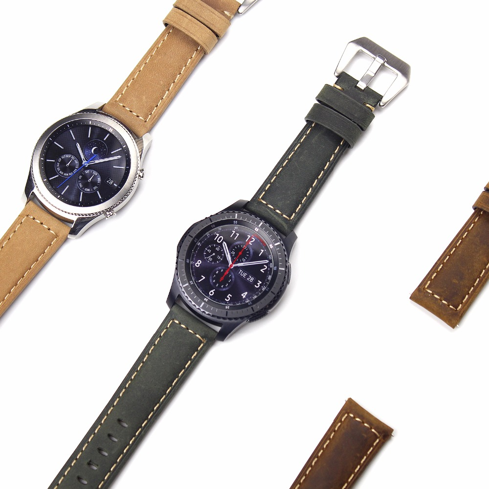 Joyozy Genuine Leather Strap For Gear S3 Band Replacement Watch Bracelet For Gear S3 Classic frontier
