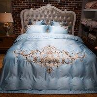 Europa luksusowe Łóżka Zestaw 4/6 pc król queen size łóżko zestaw tencel jedwabiu złota haftowane kołdra/kołdra pokrywa zestaw prześcieradło poszewkę
