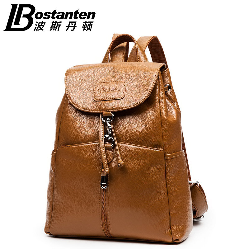 2018 Bostanten Women Genuine Cowhide Leather Backpack School Fashion Casual Travel Backpack Outdoor Shoulder Bags hot sale women s backpack the oil wax of cowhide leather backpack women casual gentlewoman small bags genuine leather school bag