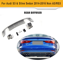 Car Style PP Car Rear Diffuser Bumper Lip With Exhaust Muffler For Audi S3 Sline Sedan 4 Door 2014-2016 Non A3 RS3