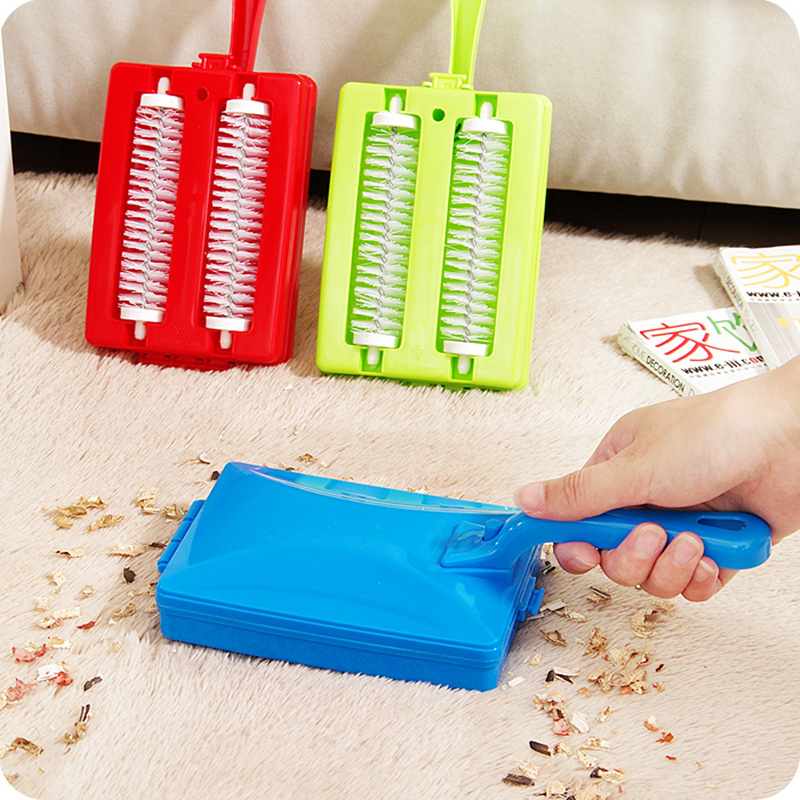 Household double roller dusting cleaning brush Carpet Table sofa Brush Cleaner Plastic Handheld Crumb Sweeper Dirt cleaning tool