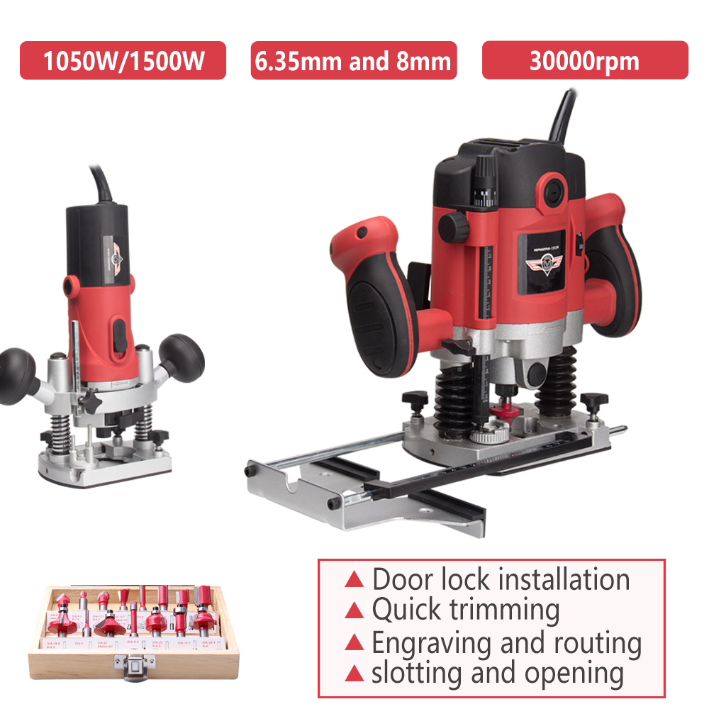 1500W 1/4in Electric trimming engraving Slotting machine Mini Wood Router 6.35mm Collet Carving Machine Carpentry Power Tools