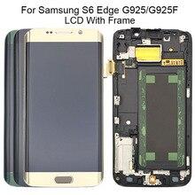 5.1 סופר AMOLED תצוגה עבור SAMSUNG Galaxy S6 קצה LCD עם מסגרת G925 G925I G925F מגע מסך Digitizer + משלוח כלים