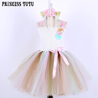 Princesa Girl dress Primavera Verano puffy Girl unicornio cumpleaños Party Tutu Dress con diadema Halloween Navidad traje para niño