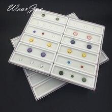 12 pcs 3x10 cm Gem Display Plastic Opbergdoos Container voor Edelstenen Diamant Houder Organzier Clear Acryl Deksel & wit Schuim