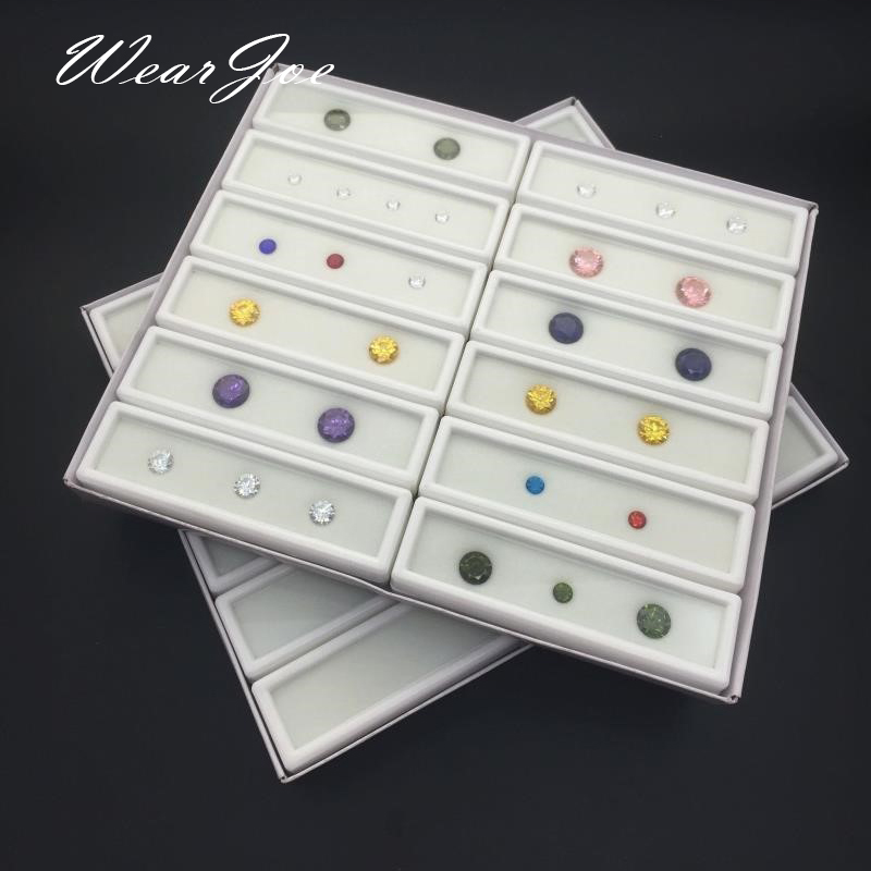 12pcs 3x10cm Gem Display Plastic Box Storage Container For Gemstones Diamond Holder Organzier Clear Acrylic Lid & White Foam