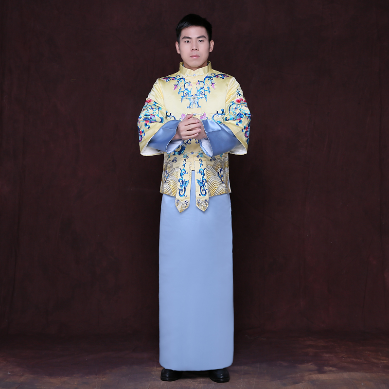 Chinese Star Style Bridegroom Wedding Gown Robe Show Clothing Male Pratensis Dragon Gown Tang Suit Costume Embroidered