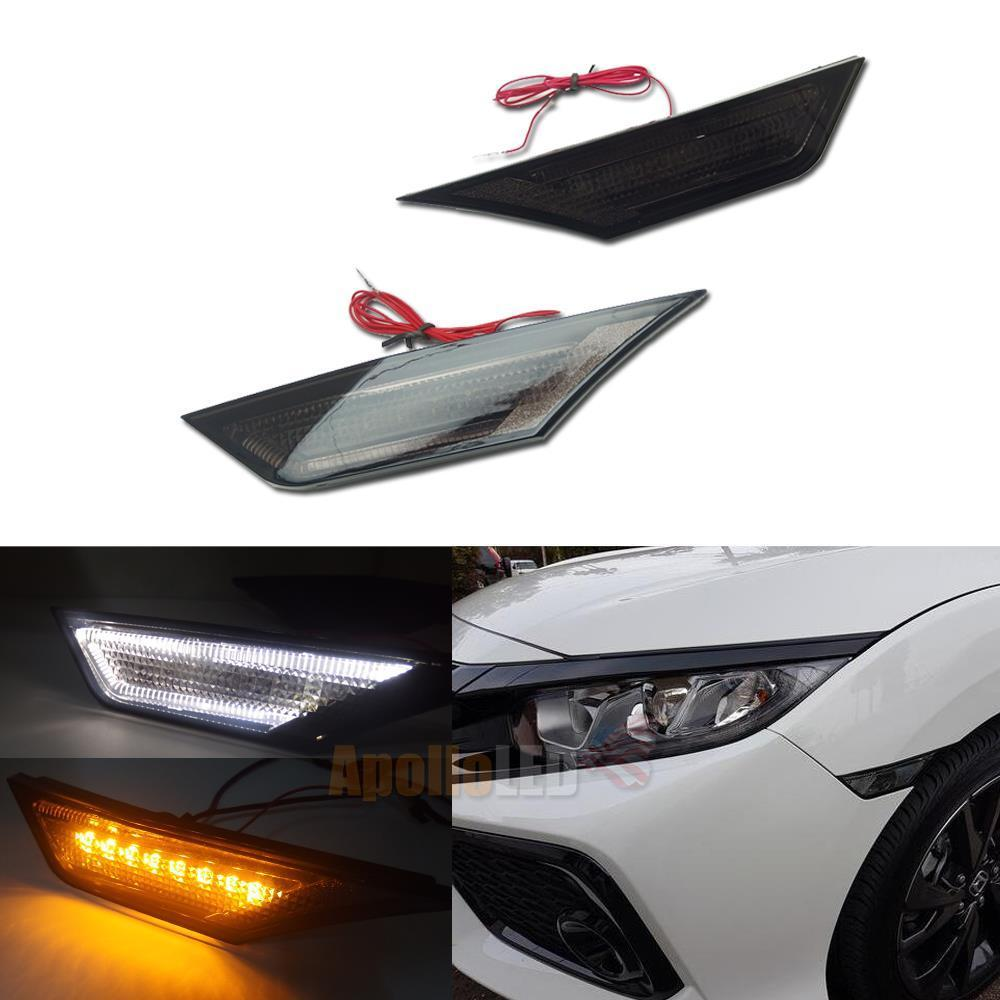2 Pcs JDM Style Smoked Lens LED Side Marker Car Lights For Honda Civic 2016 2017 2018 Auto Reflector TUrn Signal Lights 4pcs 2 red 2 amber hd led fender bed side marker lights smoked lens for dodge ram