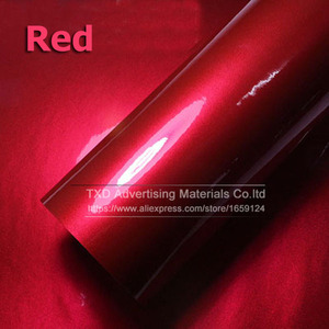 Image 1 - Premium quality 10/20/30/40/50/60X152CM/Lot Red Metallic Glossy Glitter Wrap Sticker for car wraps Glossy Candy Gold Vinyl Film