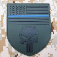 Green The thin blue line Devgru SealTeam Punisher american flag DEVGRU SealTeam Tactical Morale 3D PVC patch PB1494