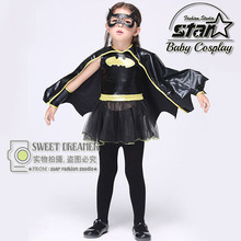 Girls Batwomen Superhero Halloween Cosplay Costumes With Cloak Fantasia Vestido Fancy Tutu Dress Kids Carnival Party