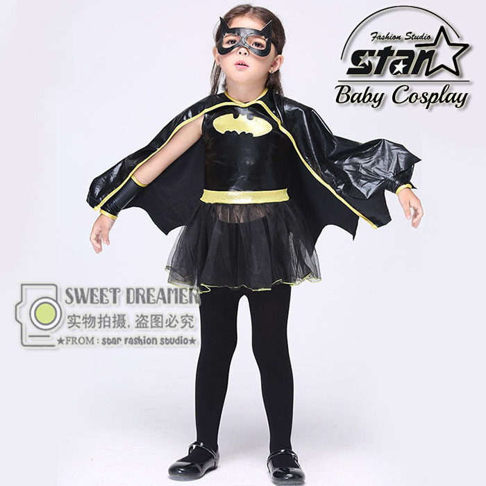 Kids Girls Batmen Superhero Halloween Cosplay Costumes With Cloak Fantasia Vestido Fancy Tutu Dress Kids Carnival Party Outfit european style halloween show skeleton dress kids girls carnival fancy costume baby tutu party children cosplay vestido cloth