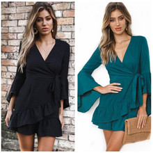 S-2XL women v neck long flare sleeve autumn spring casual leisure mini dress short dress sexy night evening party ruffles dress выпрямитель supra hss 1227s 30вт золотистый макс темп 210с