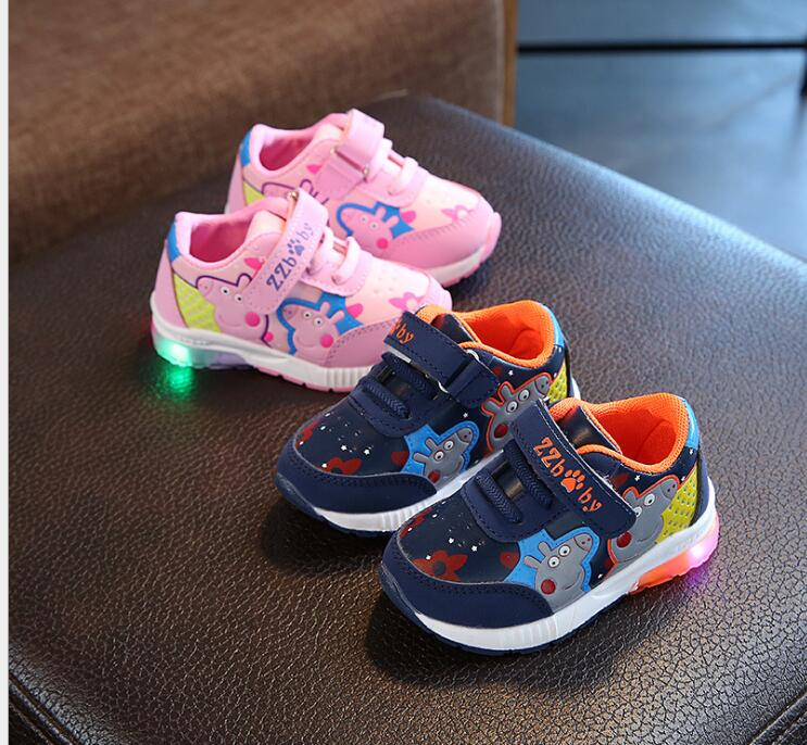 2018 Hot Luminous sneaker,printing baby girls boys shoes soft LED glowing sneakers kids cute Lovely lighted children casu