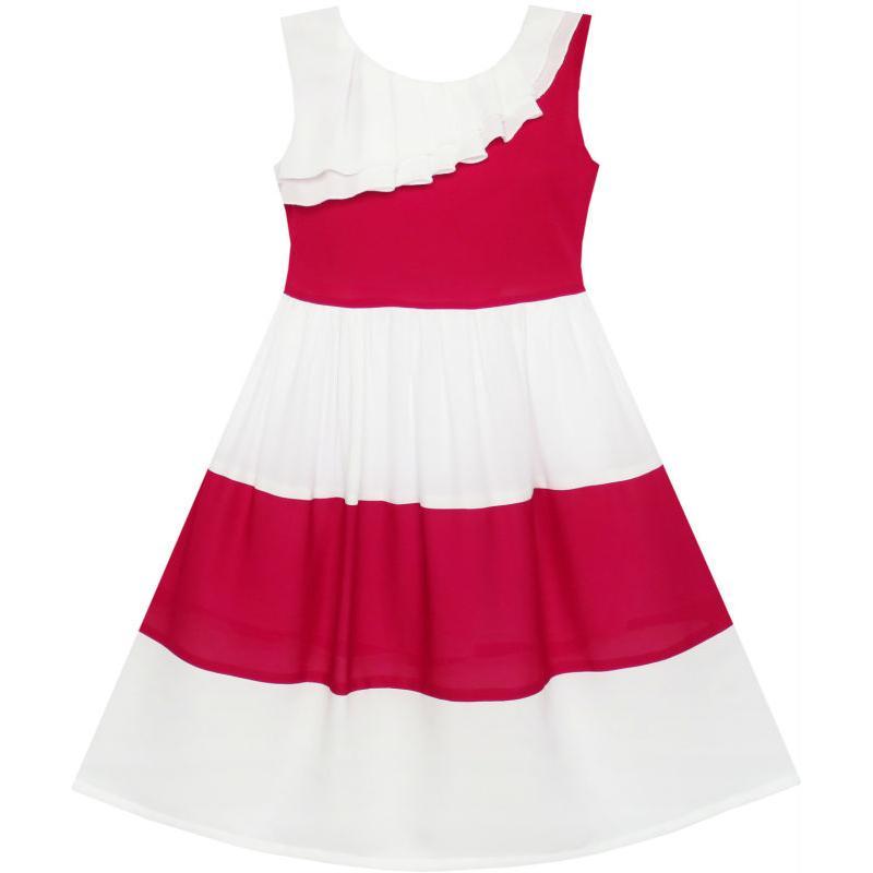 Girls Dress Sleeveless Transparent Shoulder Flower Cotton 2018